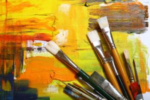 Set brushes on painted background.